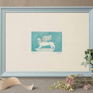 leone di san marco azzurro su carta avorio